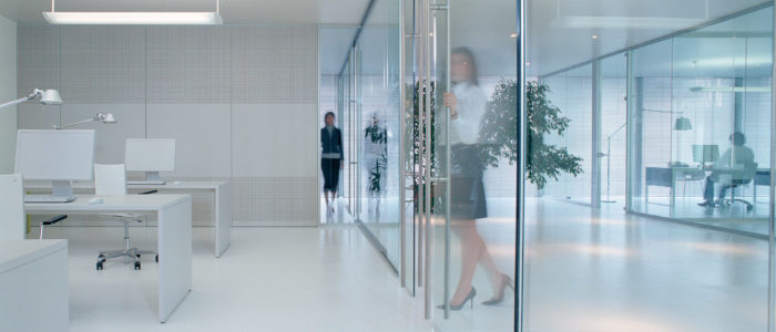 using glass partitions